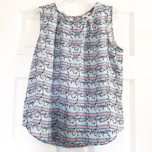 Talbots Floral Scroll Pleated Front Tank Top